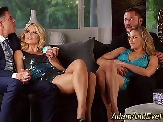 babe blonde blowjob foursome glamour group sex