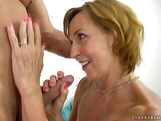 blowjob dick european granny mature mom