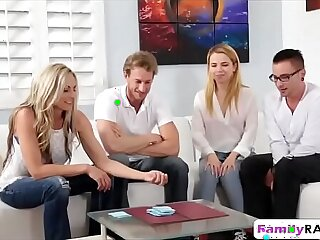 big blonde blowjob brother family foursome